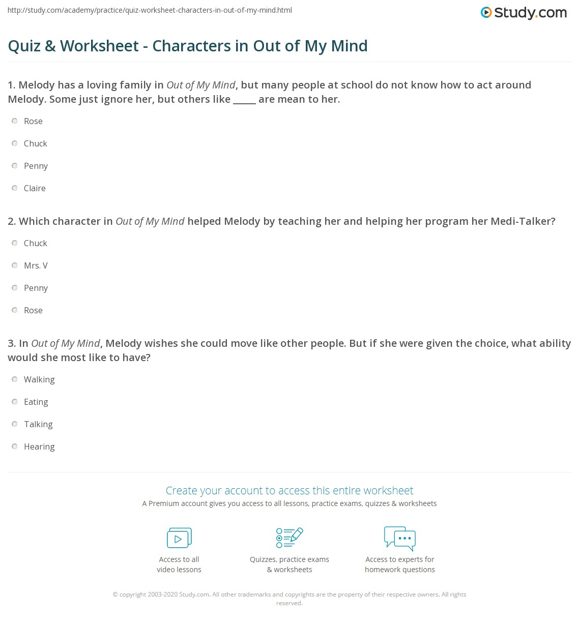 Quiz Worksheet Characters In Out Of My Mind Studycom