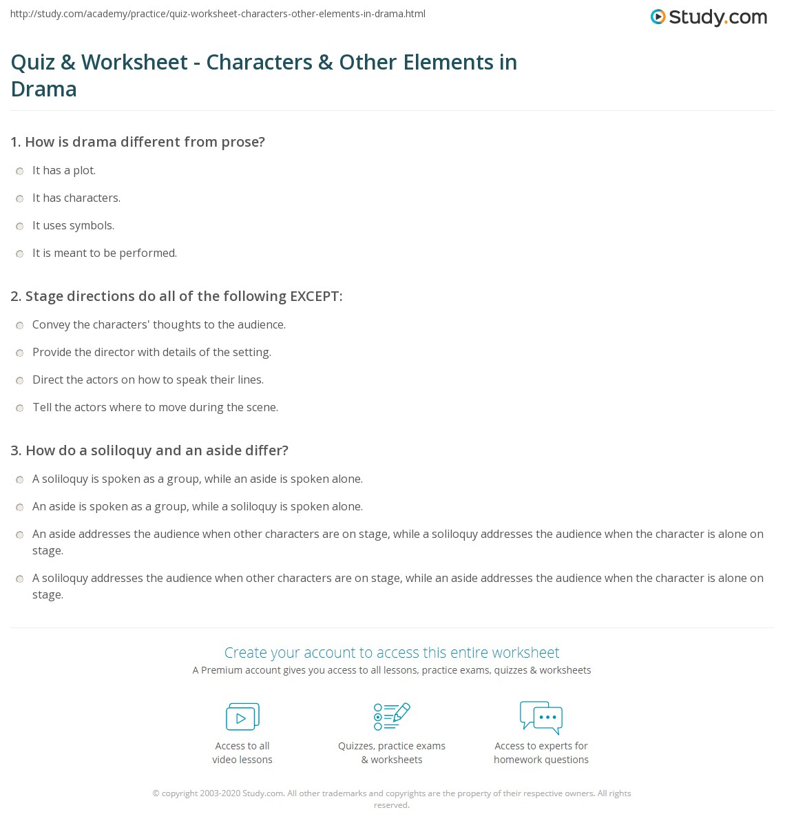 quiz worksheet characters other elements in drama. Black Bedroom Furniture Sets. Home Design Ideas