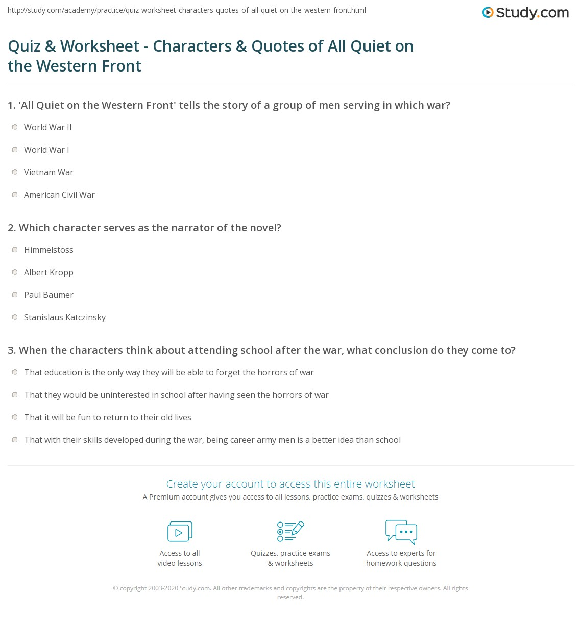 worksheet All Quiet On The Western Front Worksheet quiz worksheet characters quotes of all quiet on the western print front worksheet