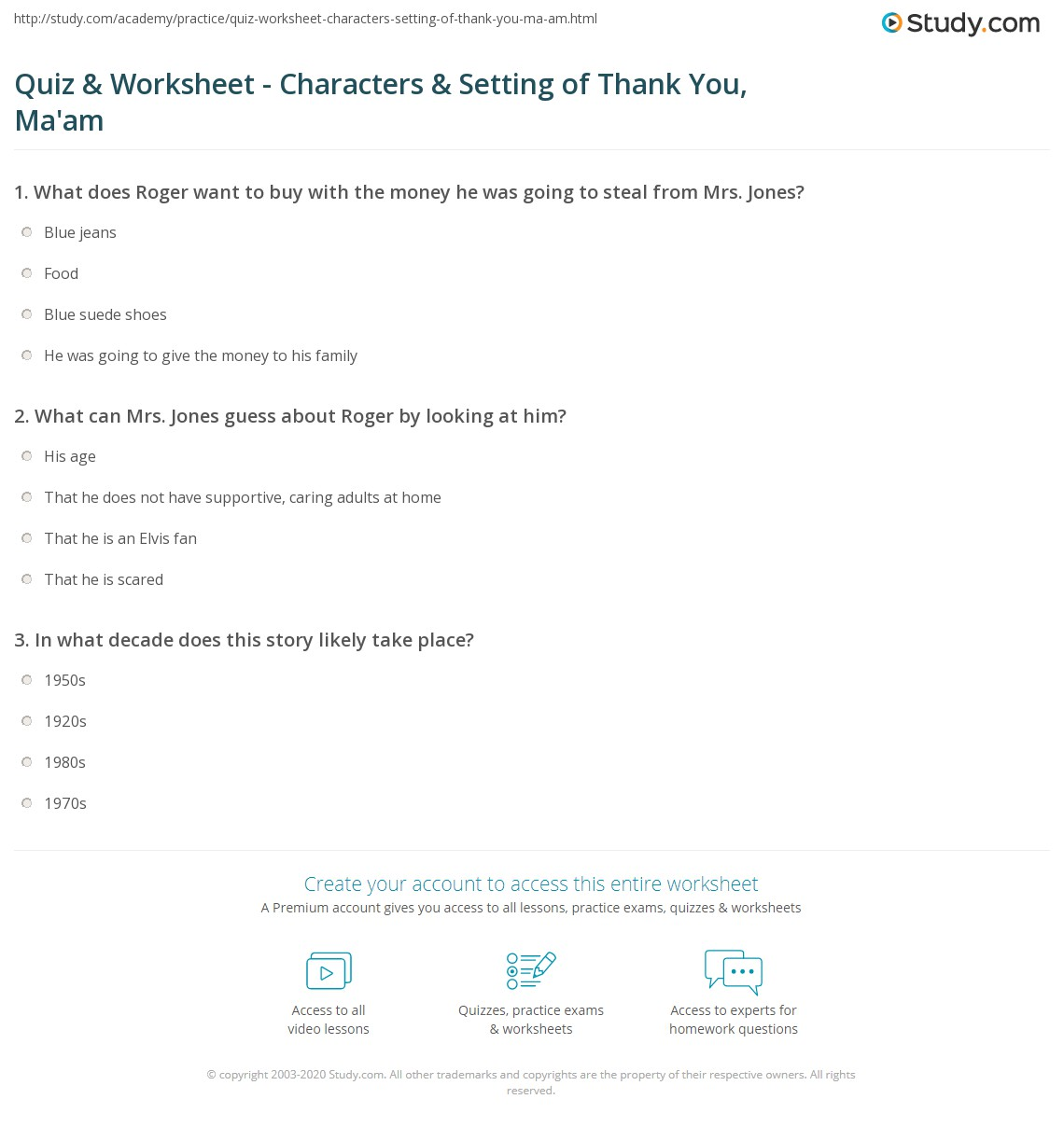 Character And Setting Worksheets Esl : Quiz worksheet characters setting of thank you ma