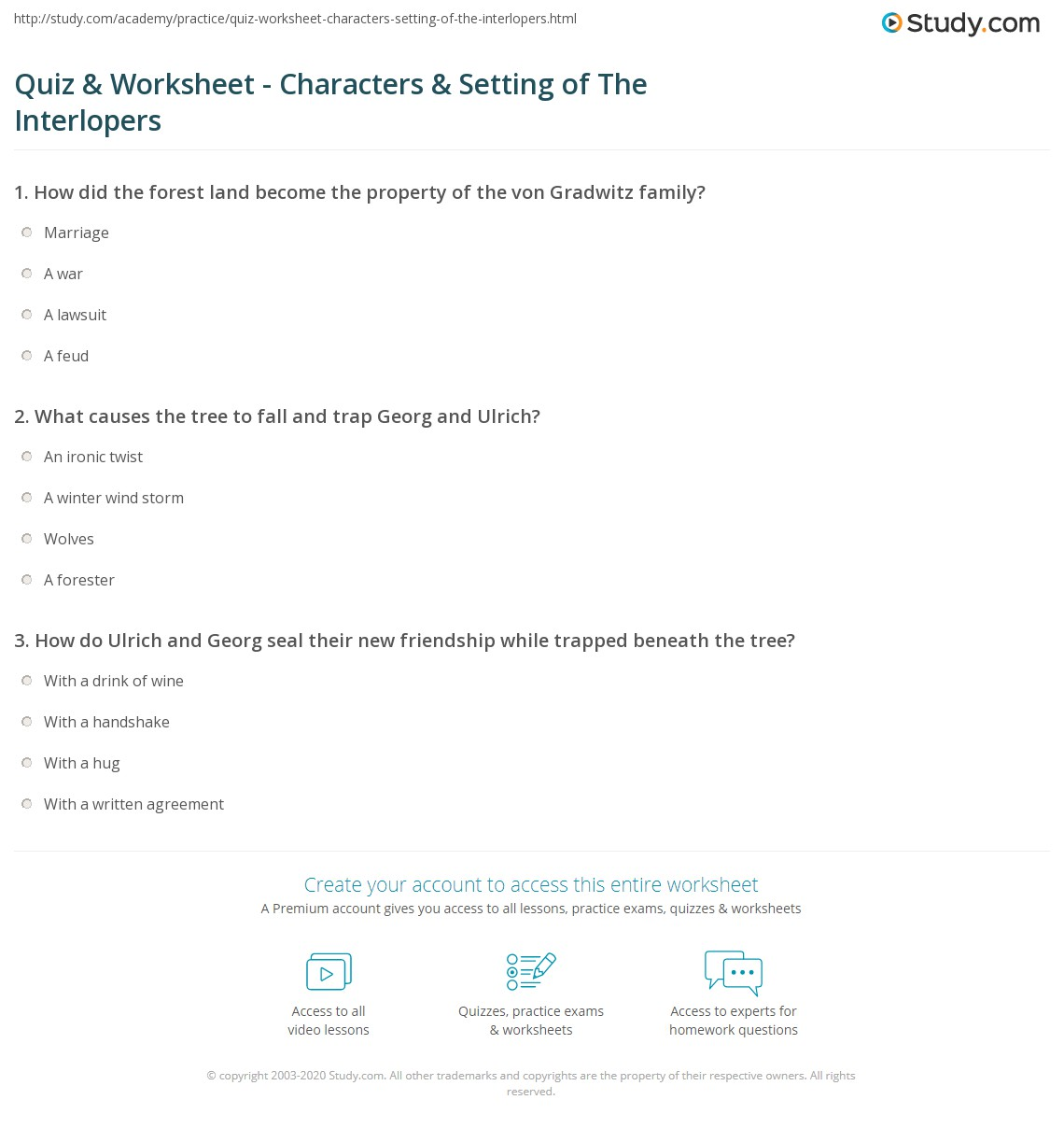 Quiz Worksheet Characters Setting Of The Interlopers Study Com
