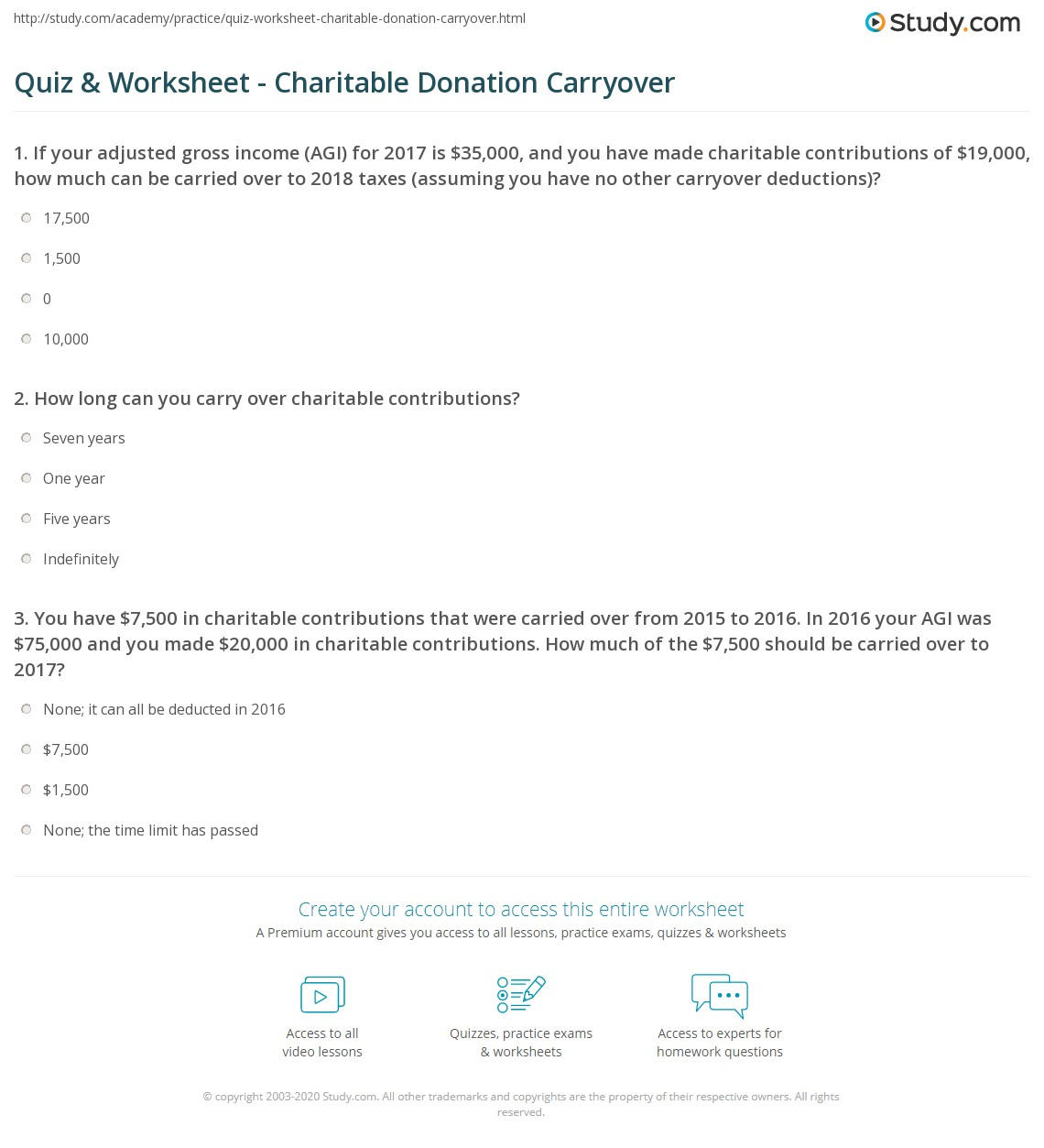 quiz worksheet charitable donation carryover study com