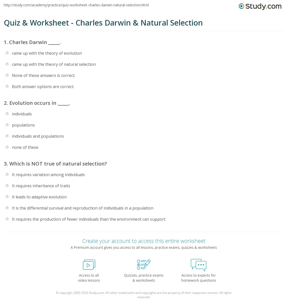 Quiz  Worksheet  Charles Darwin  Natural Selection  Study.com