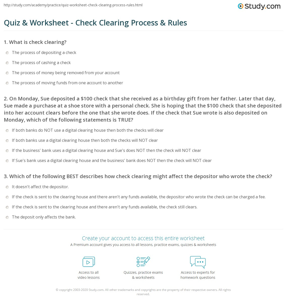 quiz & worksheet - check clearing process & rules   study