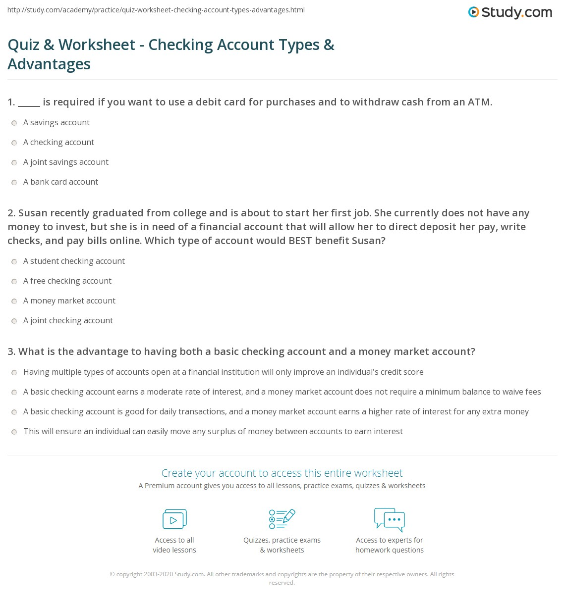 quiz & worksheet - checking account types & advantages | study