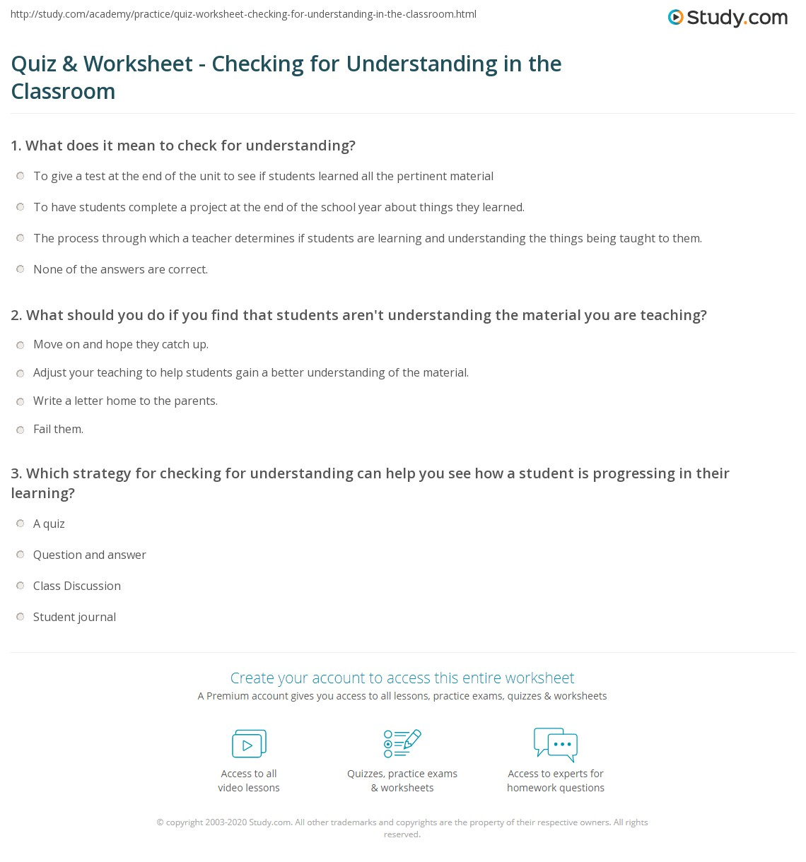 worksheet Writing Checks Worksheet quiz worksheet checking for understanding in the classroom print how to check strategies worksheet