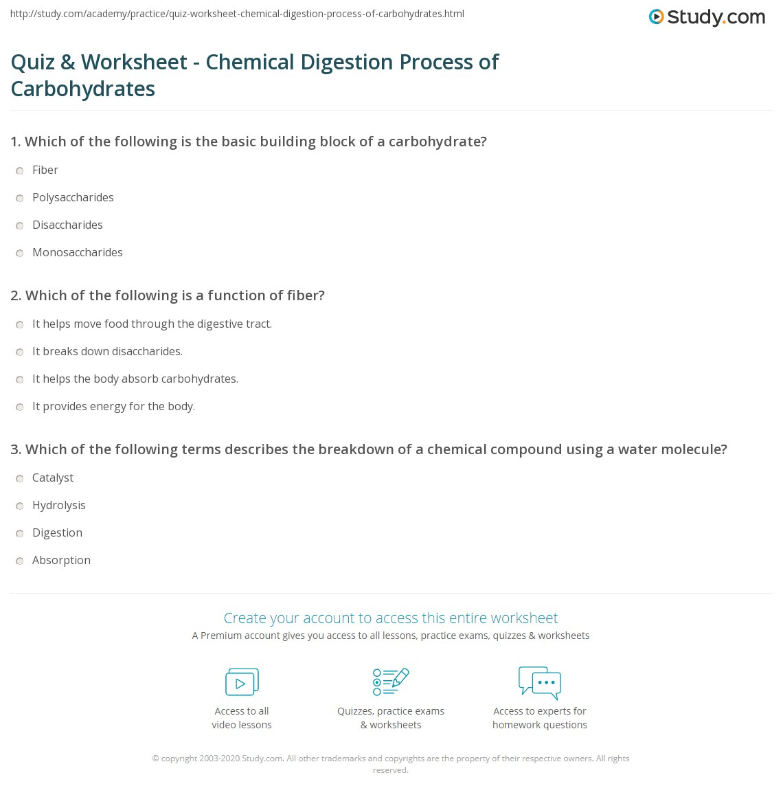 Quiz Worksheet Chemical Digestion Process Of Carbohydrates