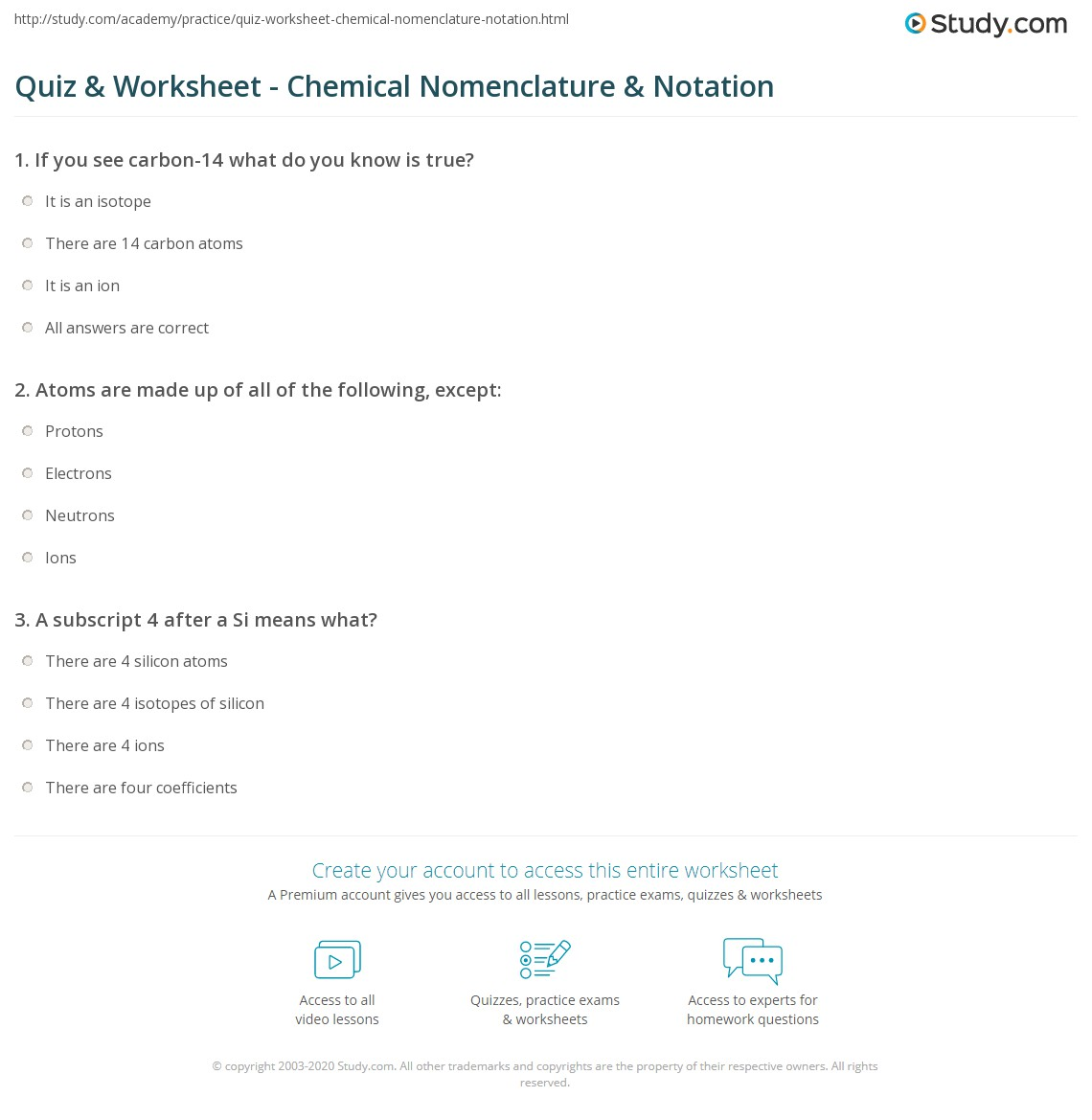 ... print chemical nomenclature notation worksheet · isotope ...