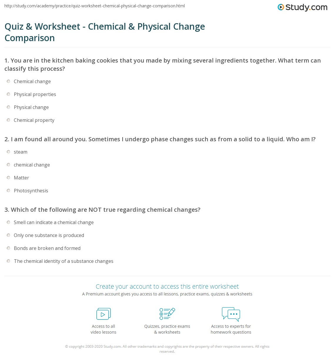 quiz worksheet chemical physical change comparison. Black Bedroom Furniture Sets. Home Design Ideas