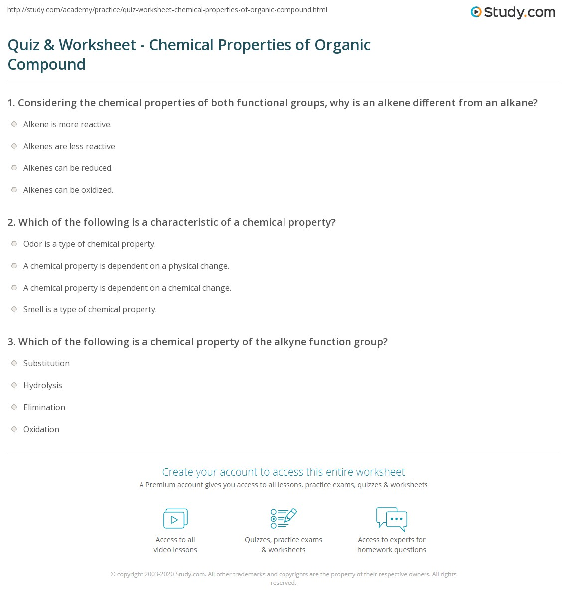 Quiz & Worksheet - Chemical Properties of Organic Compound