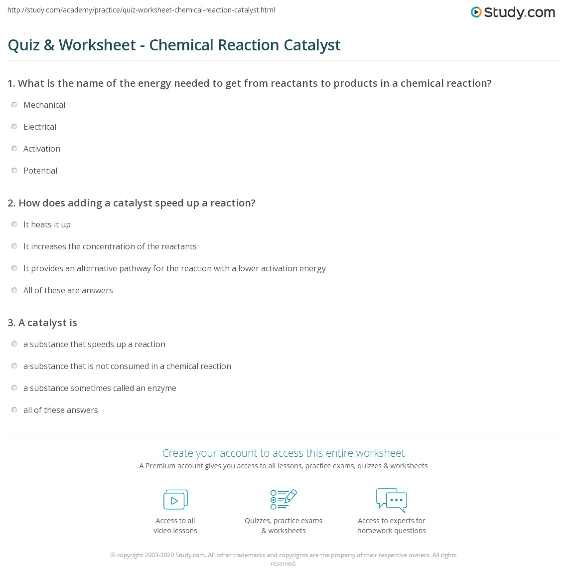 quiz worksheet chemical reaction catalyst. Black Bedroom Furniture Sets. Home Design Ideas