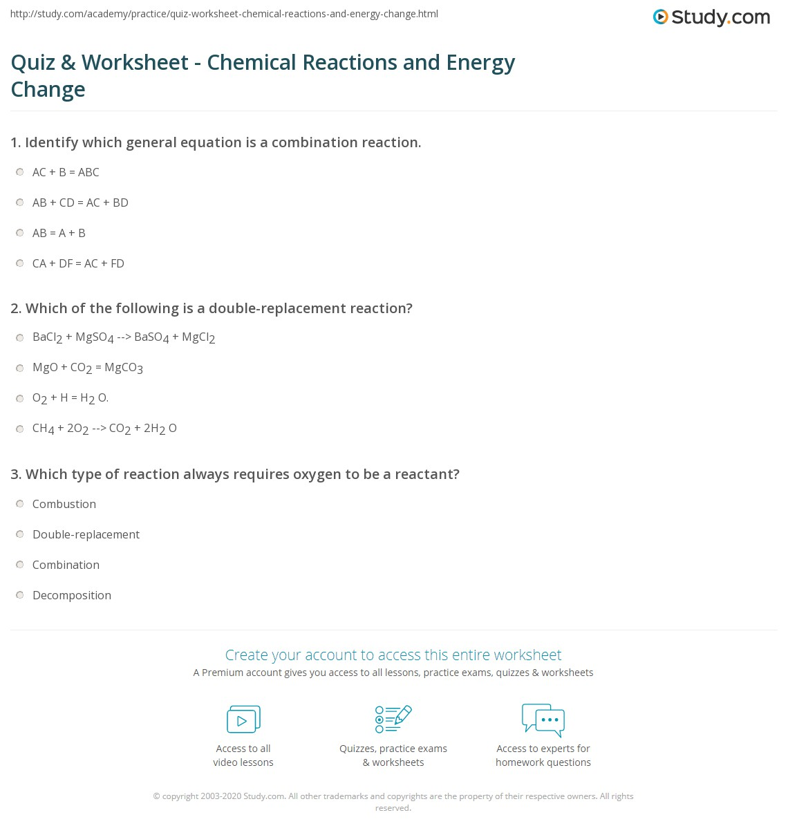 Quiz Worksheet Chemical Reactions And Energy Change