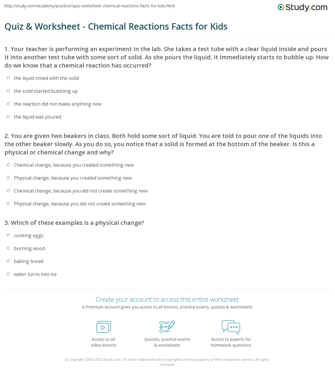 worksheet Ks3 Chemical Reactions Worksheet quiz worksheet chemical reactions facts for kids study com 1 you are given two beakers in class both hold some sort of liquid told to pour one the liquids into other beaker sl