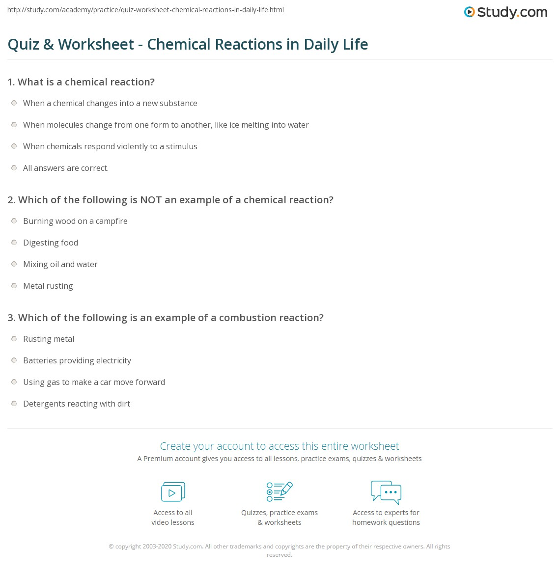worksheet The Chemistry Of Life Worksheet quiz worksheet chemical reactions in daily life study com print everyday worksheet