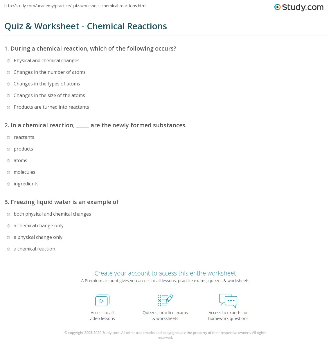 Quiz & Worksheet - Chemical Reactions | Study.com