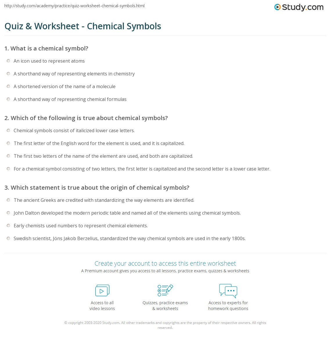 Quiz worksheet chemical symbols study print chemical symbol definition examples worksheet buycottarizona