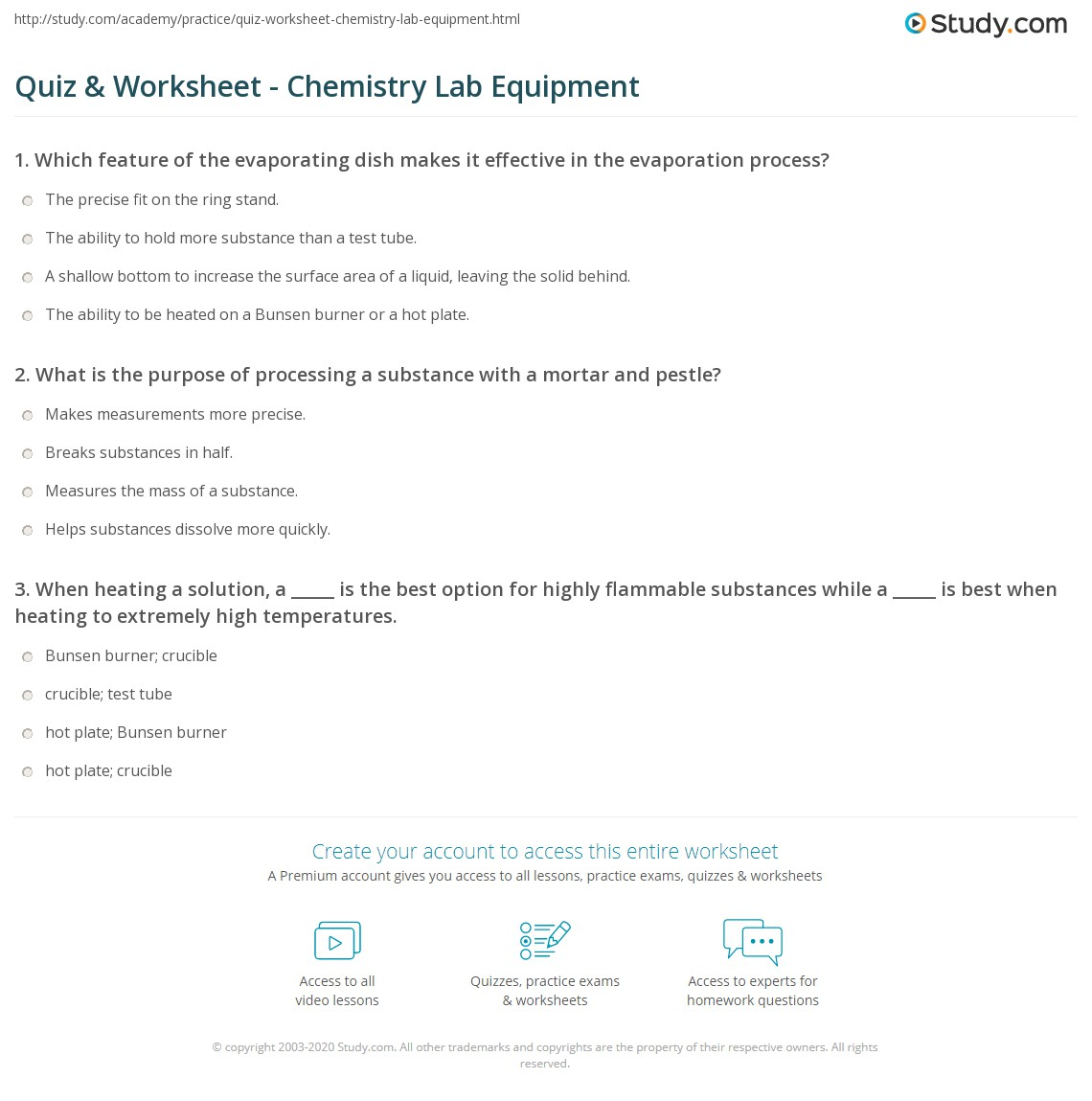 Worksheets Chemistry Lab Equipment Worksheet quiz worksheet chemistry lab equipment study com print supplies glassware more worksheet