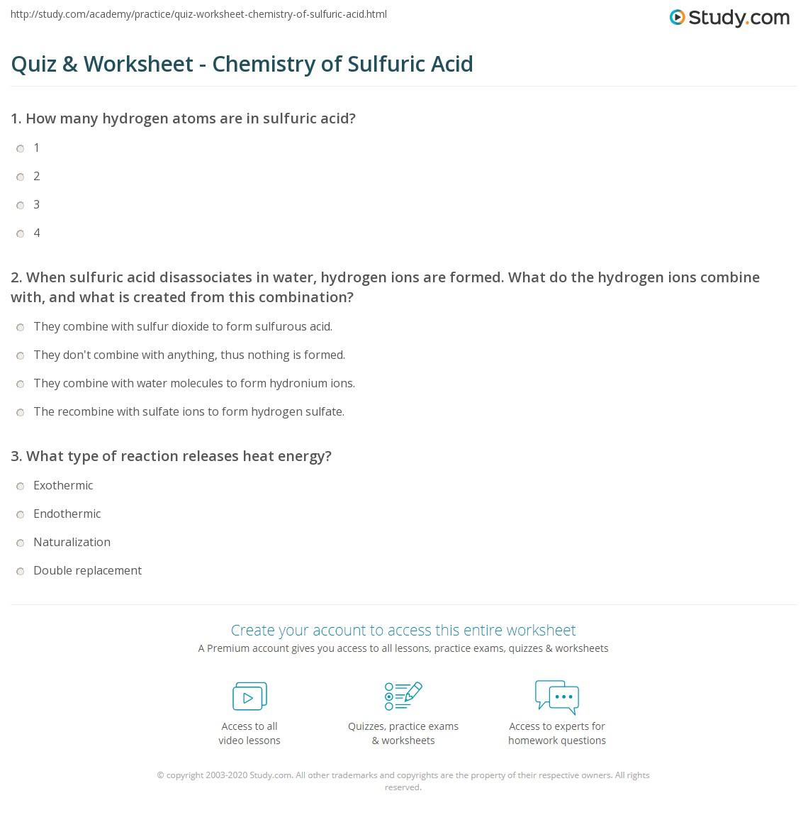 worksheet Double Replacement Reactions Worksheet quiz worksheet chemistry of sulfuric acid study com print reactions ionization precautions worksheet