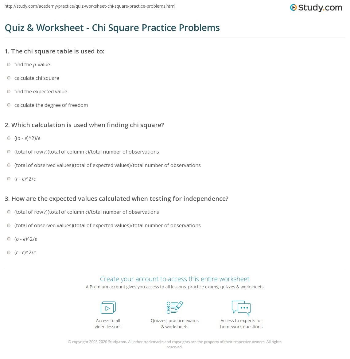 quiz worksheet chi square practice problems. Black Bedroom Furniture Sets. Home Design Ideas