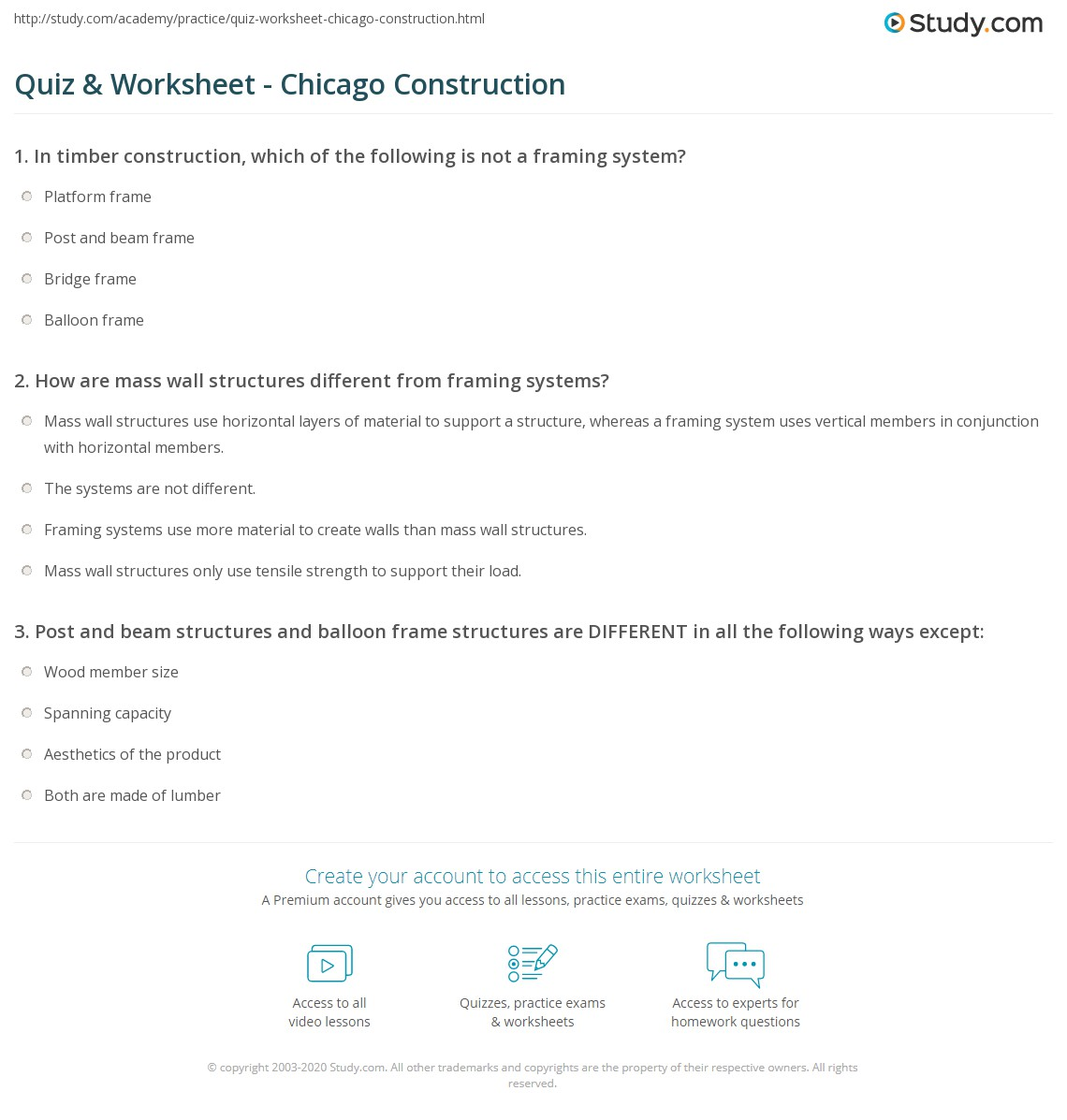 Quiz & Worksheet - Chicago Construction | Study.com
