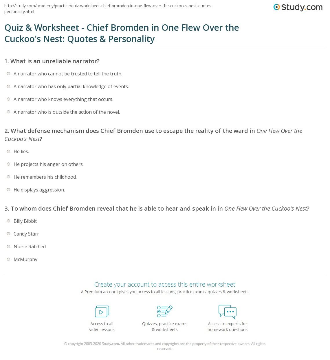 Quiz Worksheet Chief Bromden In One Flew Over The Cuckoo S