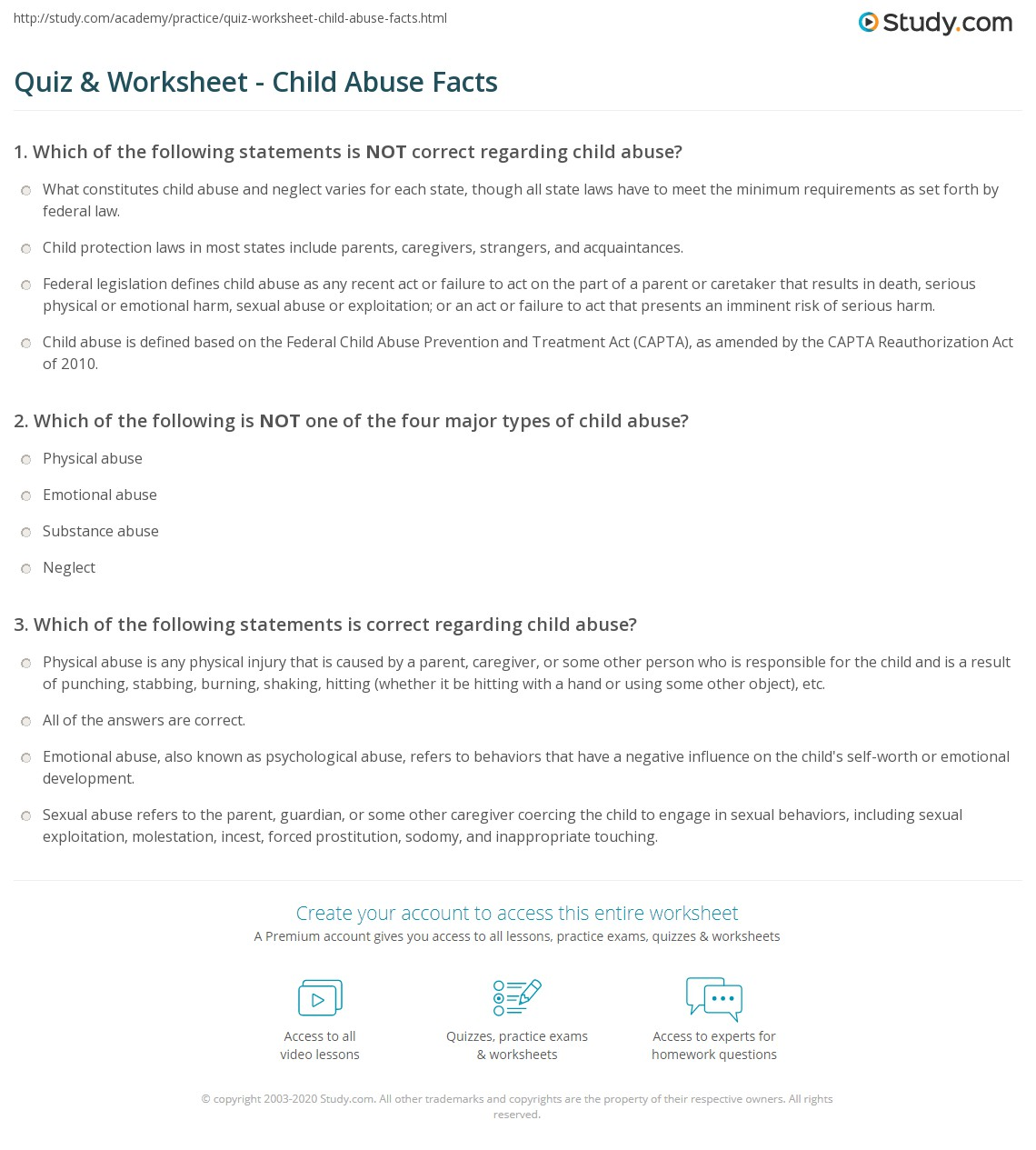 quiz & worksheet - child abuse facts | study