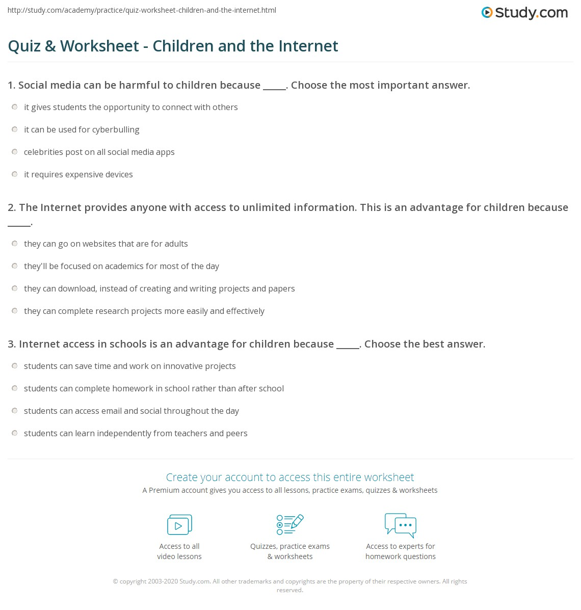 Quiz Worksheet Children and the Internet – Worksheets for Children