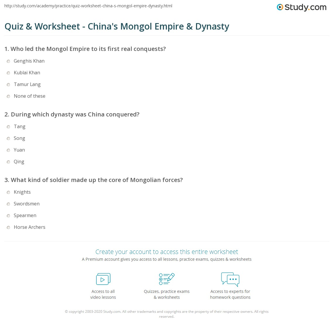 quiz worksheet china 39 s mongol empire dynasty. Black Bedroom Furniture Sets. Home Design Ideas