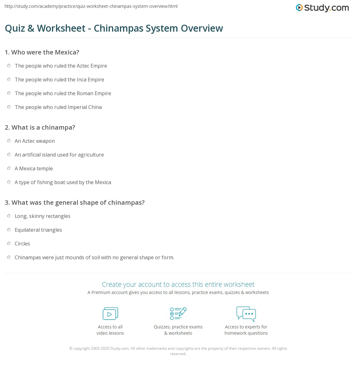 Quiz Worksheet Chinampas System Overview Study Com