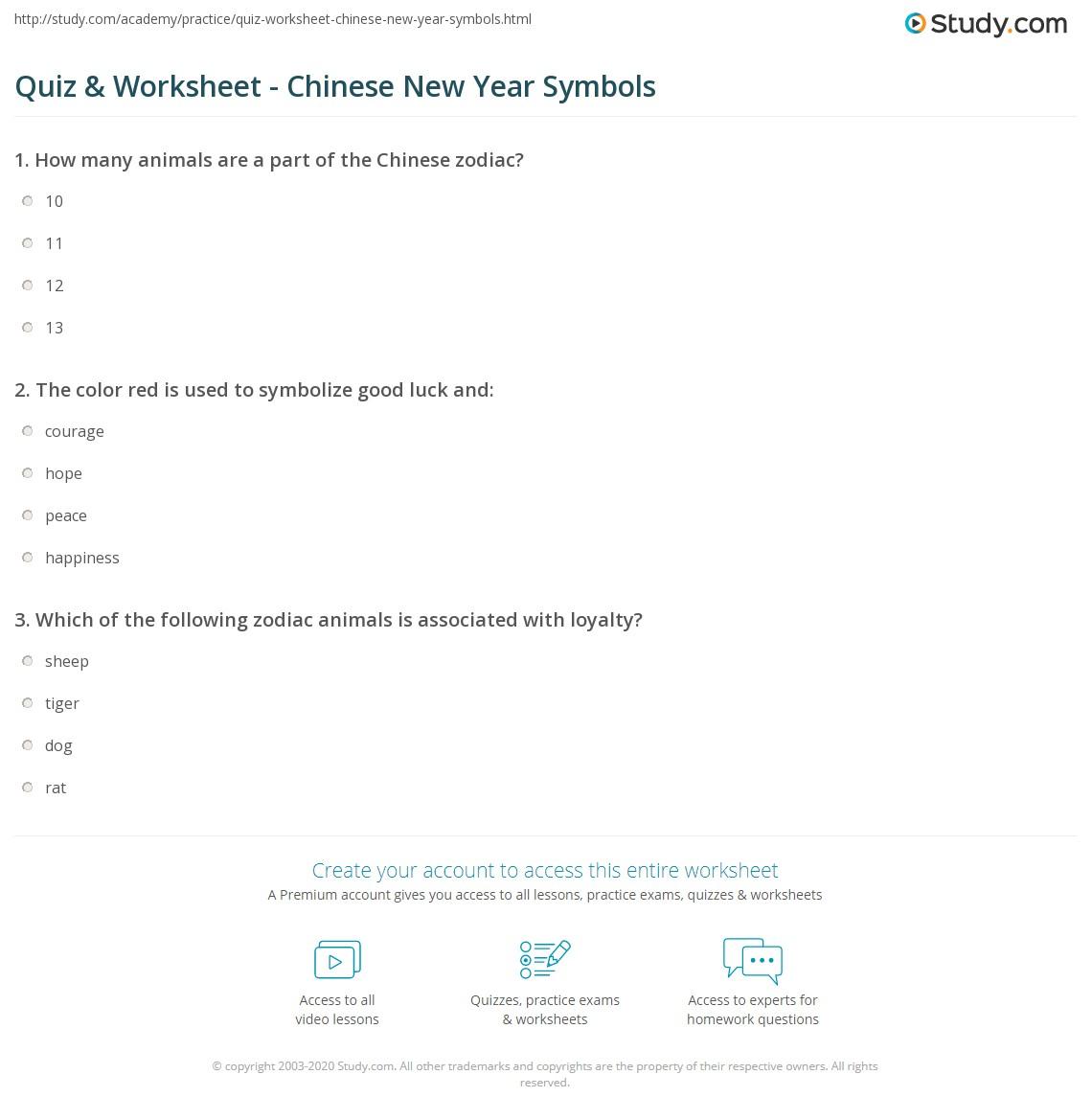 worksheet Signs And Symbols Worksheet quiz worksheet chinese new year symbols study com print signs worksheet