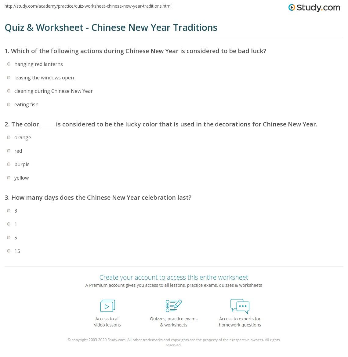 worksheet Chinese New Year Worksheets quiz worksheet chinese new year traditions study com print food worksheet