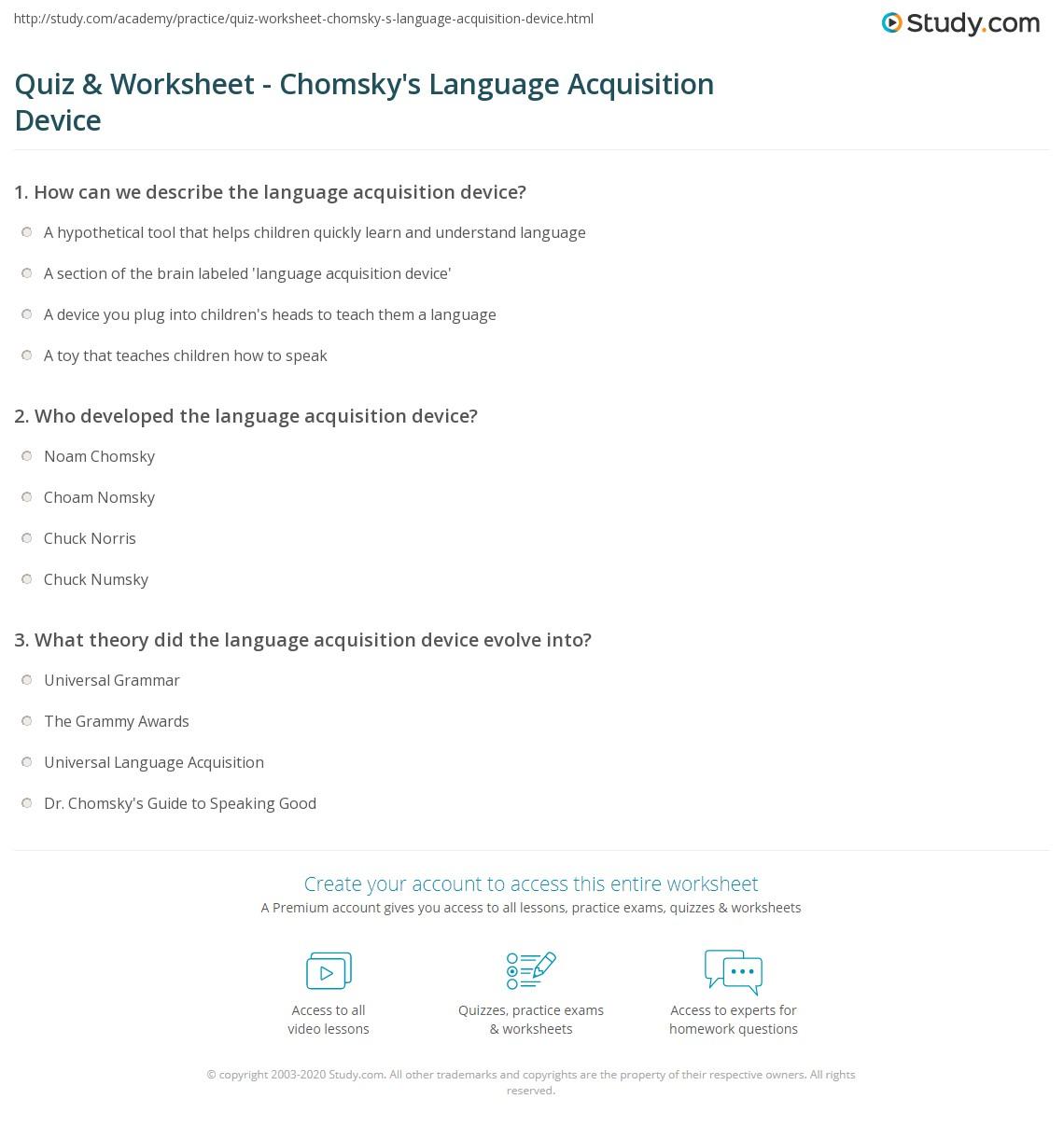 Quiz & Worksheet - Chomsky's Language Acquisition Device | Study.com
