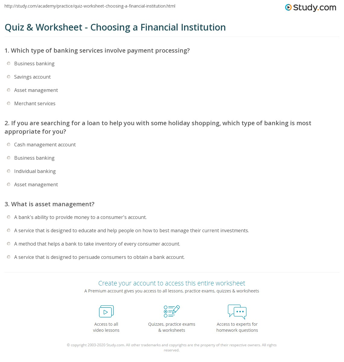 Worksheets How To Manage Your Money Worksheets quiz worksheet choosing a financial institution study com print how to choose bank or worksheet