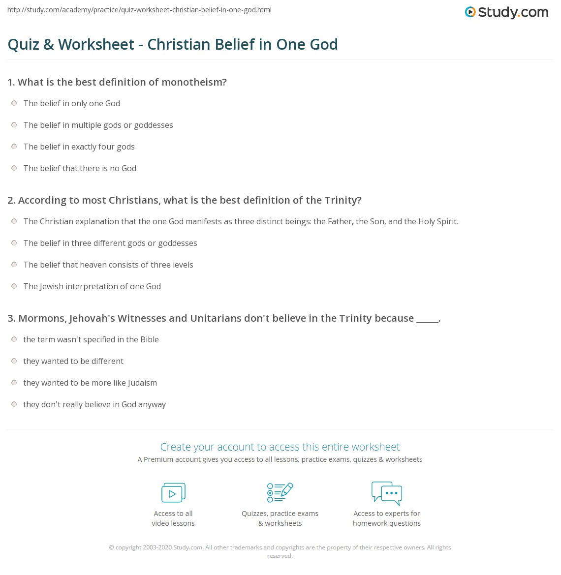 worksheet Core Beliefs Worksheet quiz worksheet christian belief in one god study com print monotheism christianity definition overview worksheet