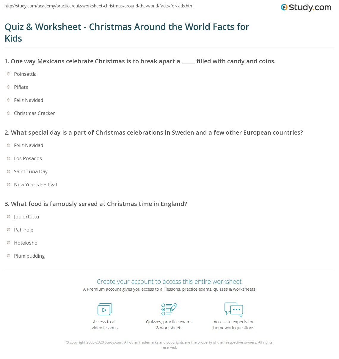 Quiz & Worksheet - Christmas Around the World Facts for Kids | Study.com