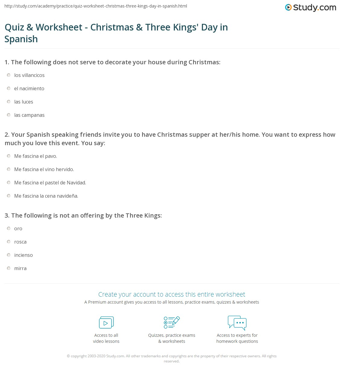 Quiz & Worksheet - Christmas & Three Kings' Day in Spanish