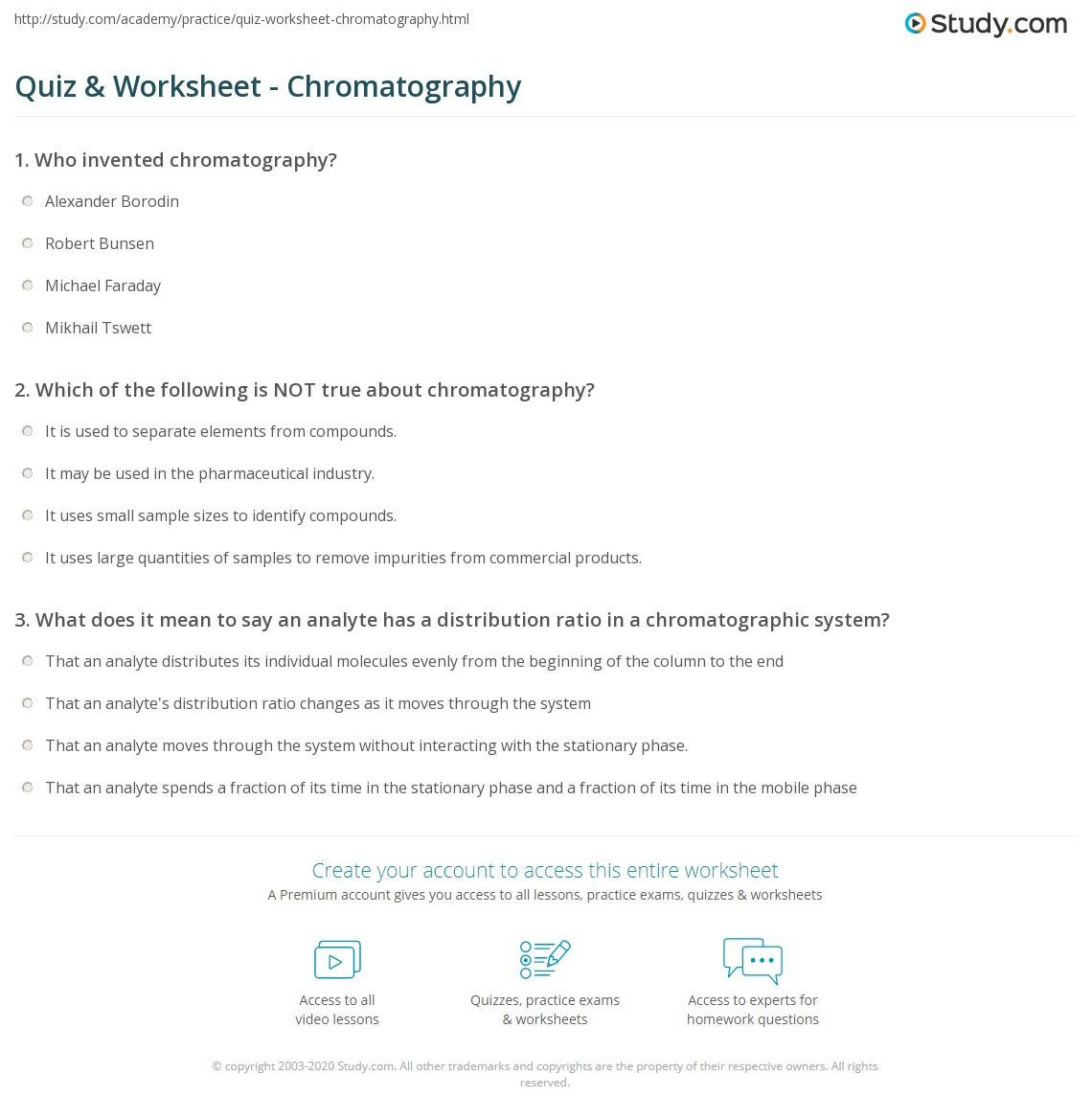 Chromatography worksheet switchconf quiz worksheet chromatography study com pooptronica