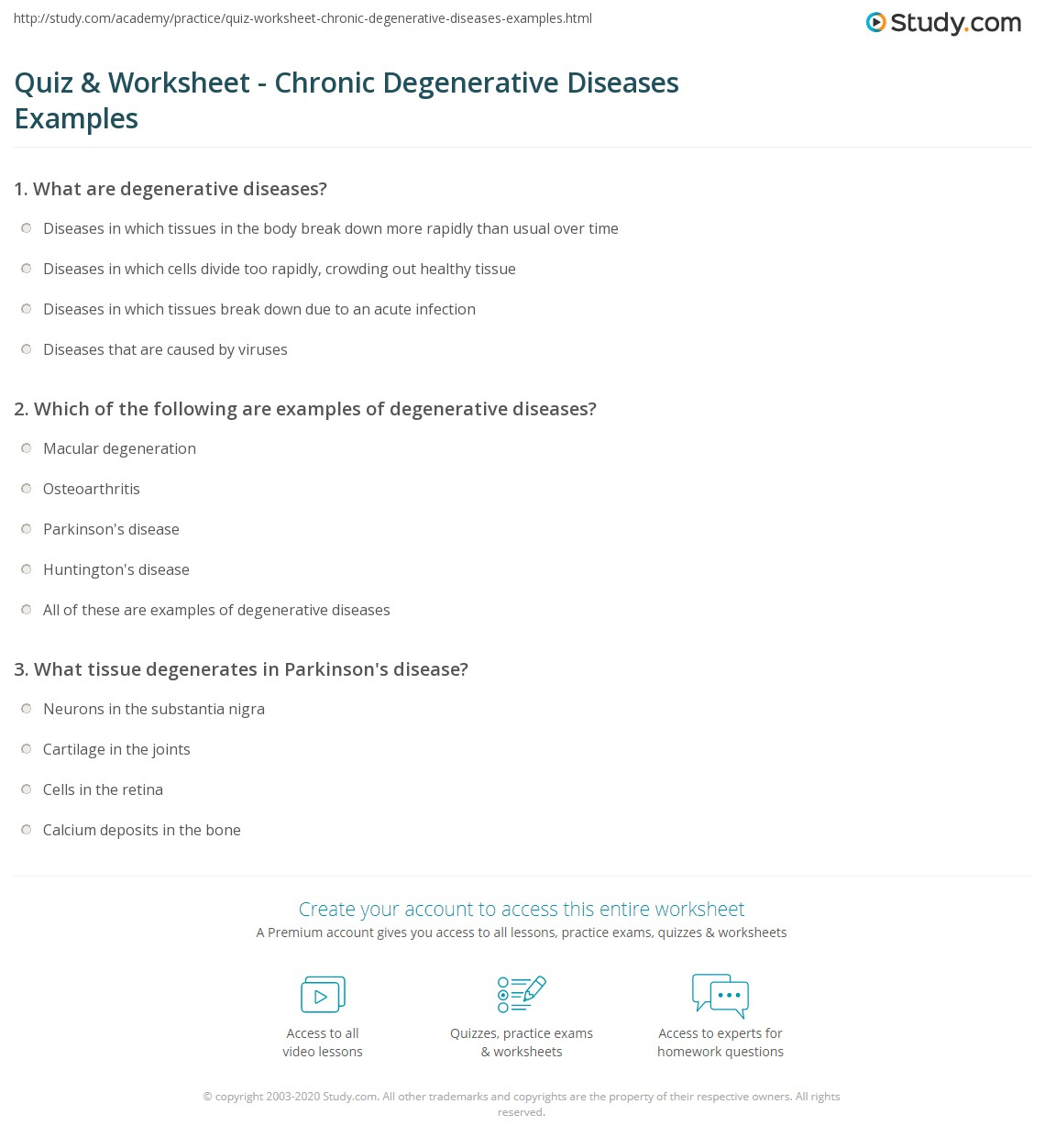 Quiz Worksheet Chronic Degenerative Diseases Examples Study