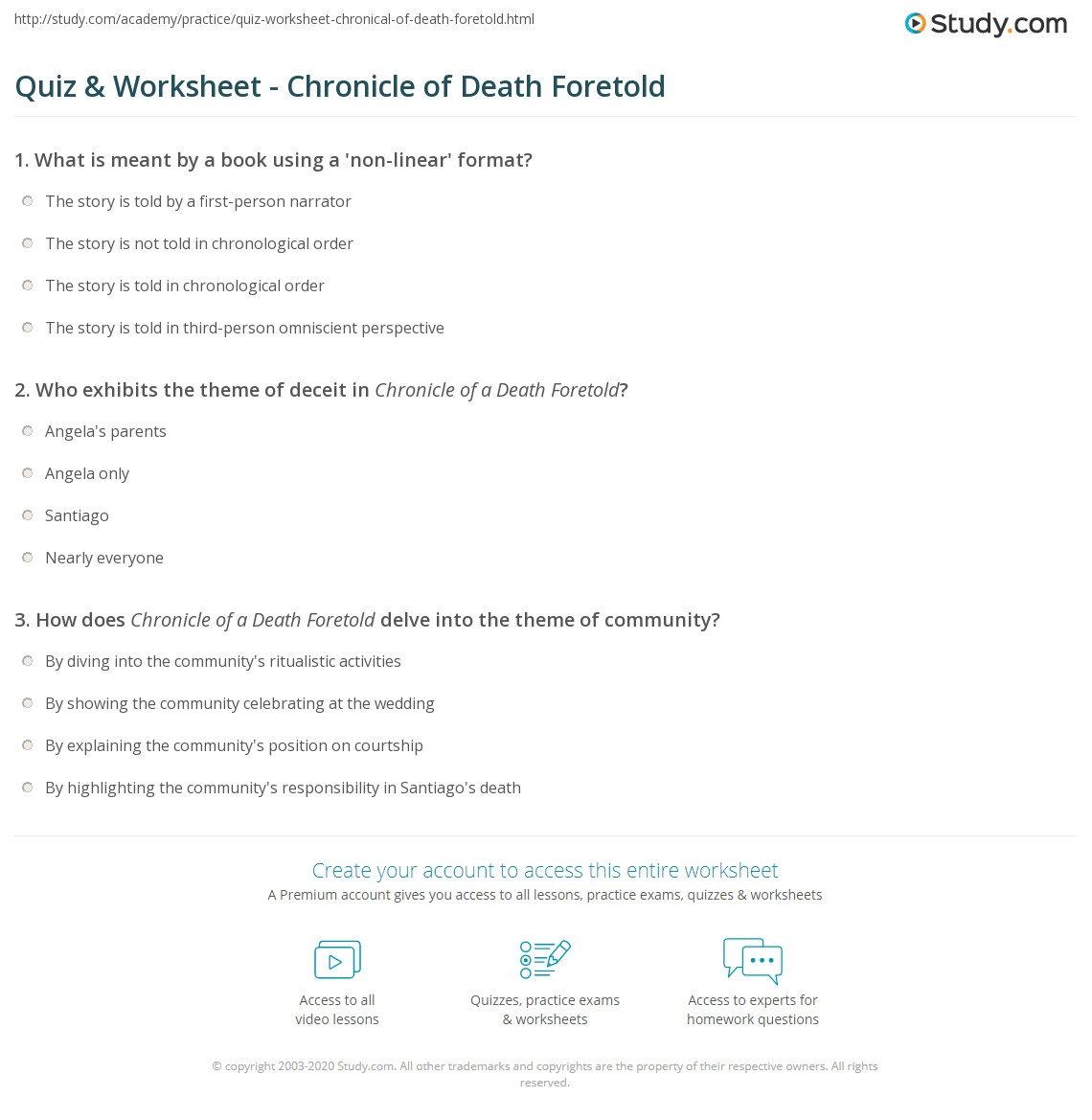 Quiz  Worksheet  Chronicle Of Death Foretold  Studycom Print Chronicle Of A Death Foretold Summary Characters  Themes Worksheet
