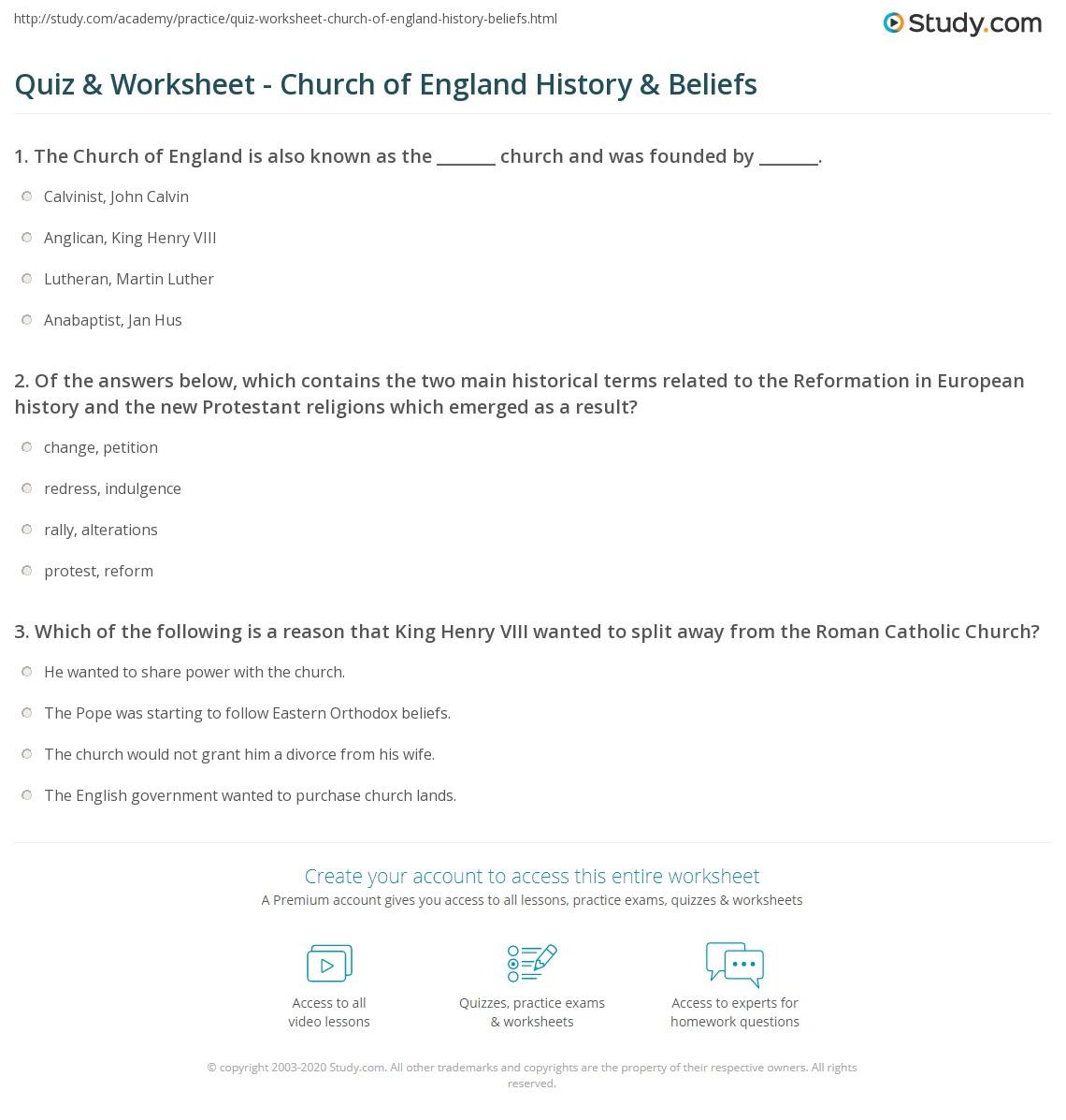 Print Church of England: History & Beliefs Worksheet
