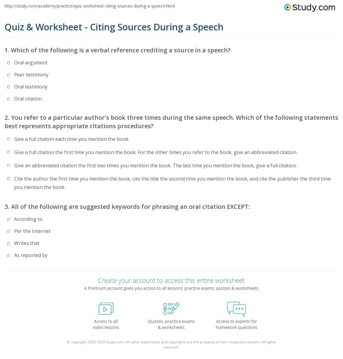 quiz worksheet citing sources during a speech. Black Bedroom Furniture Sets. Home Design Ideas