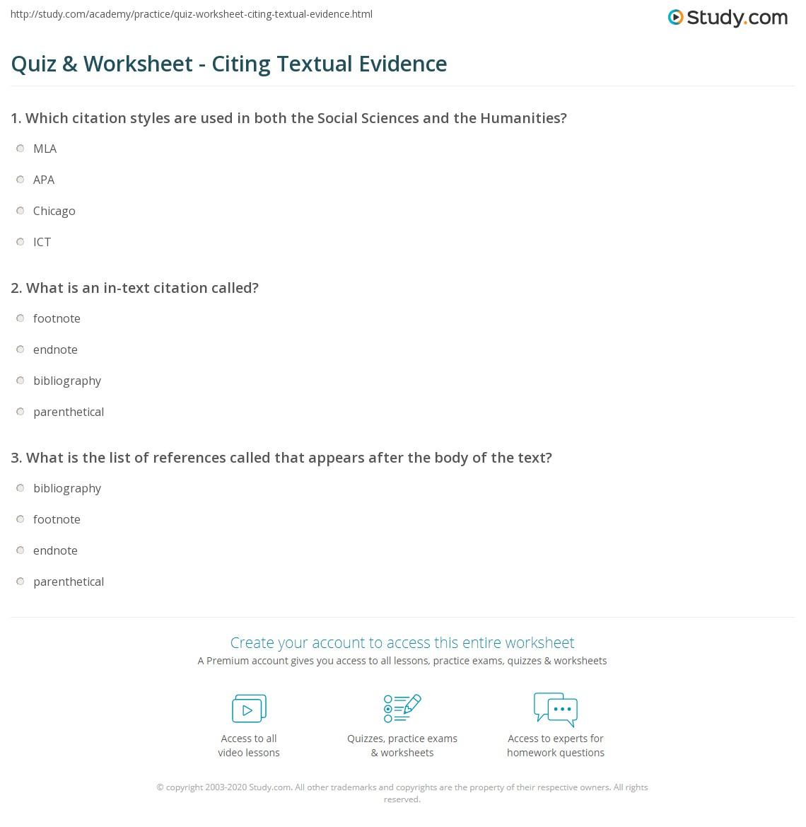 quiz worksheet citing textual evidence. Black Bedroom Furniture Sets. Home Design Ideas