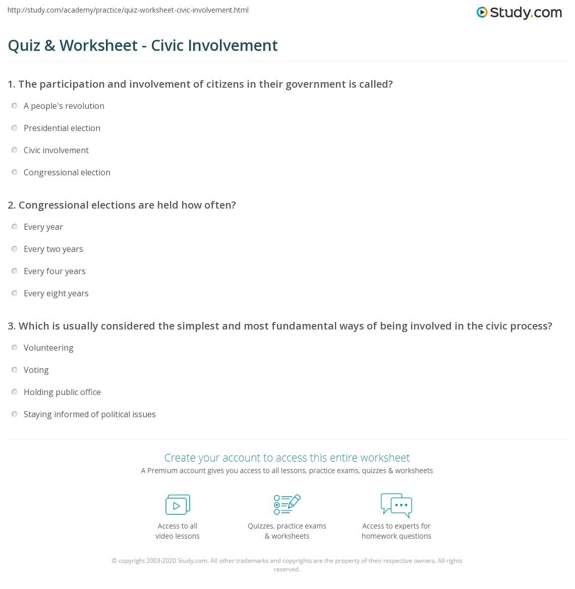 Worksheets Civics Worksheets quiz worksheet civic involvement study com print definition examples worksheet