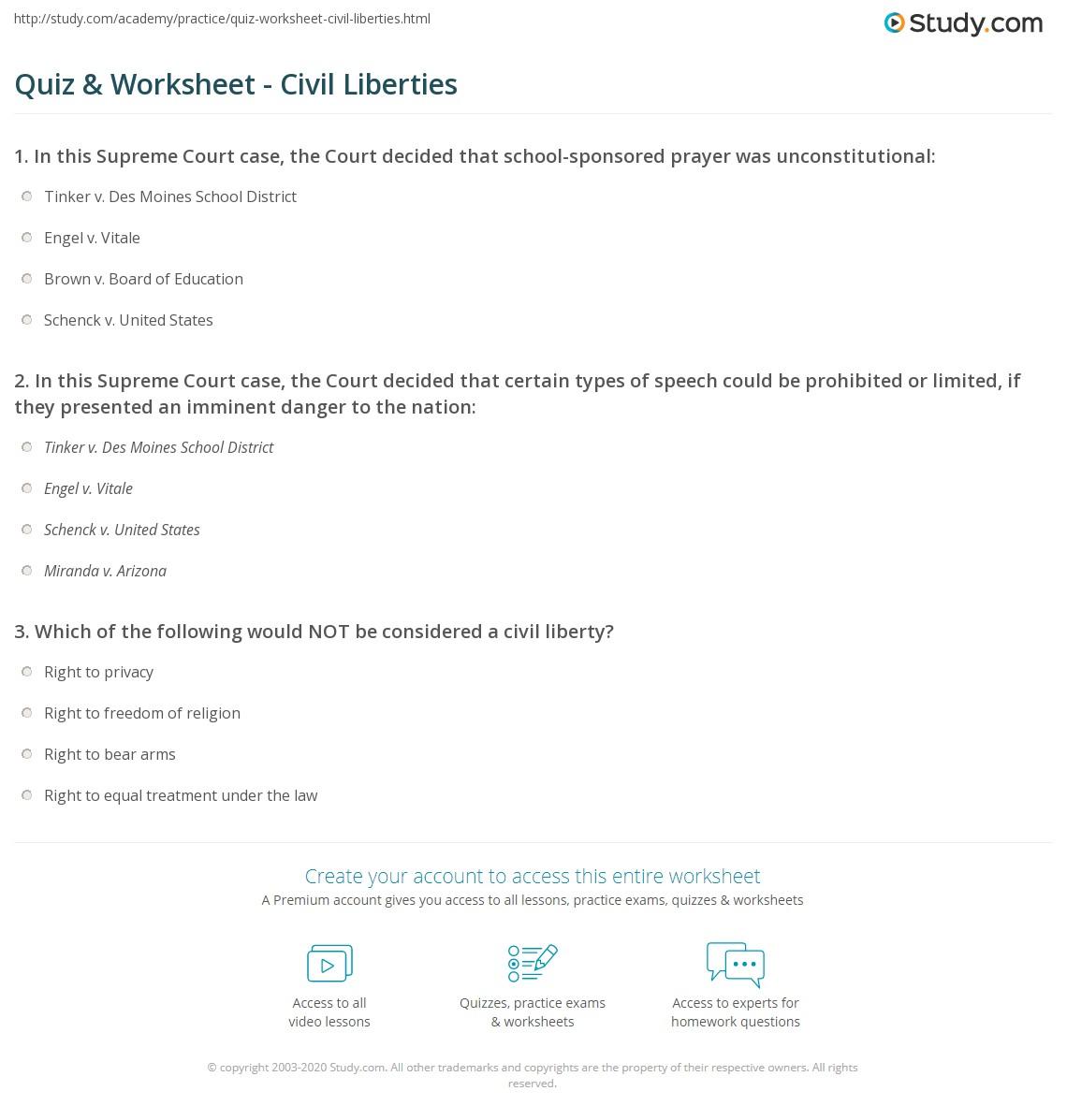 Quiz Worksheet Civil Liberties Study