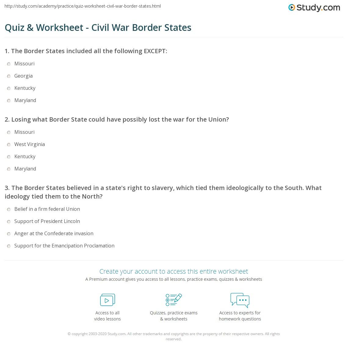 quiz worksheet civil war border states study com