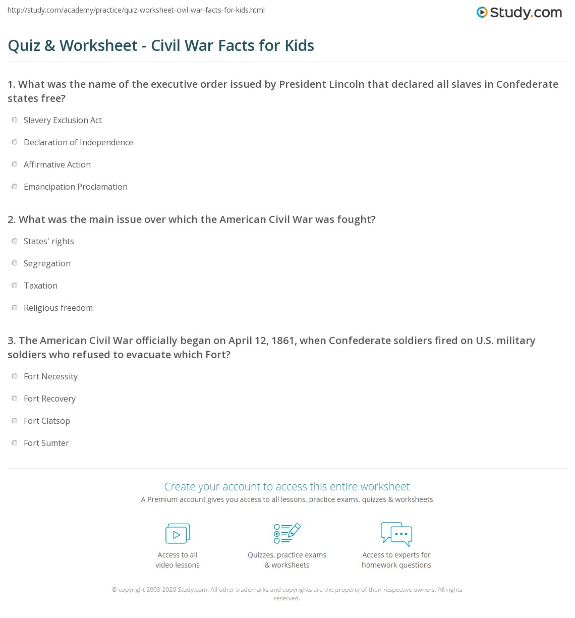 quiz worksheet civil war facts for kids. Black Bedroom Furniture Sets. Home Design Ideas