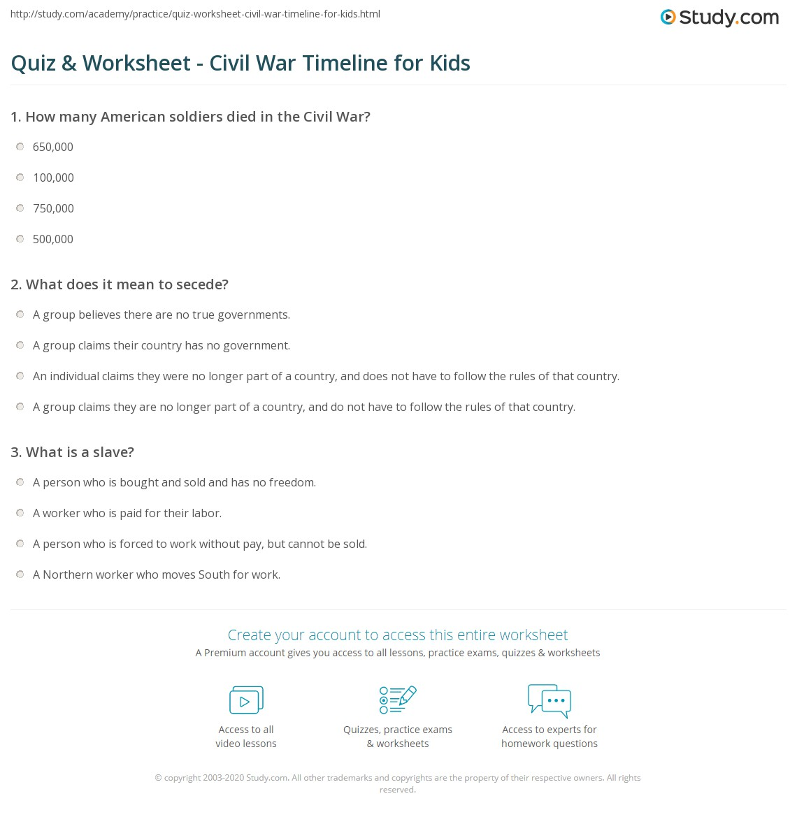 civil war timeline worksheet kidz activities. Black Bedroom Furniture Sets. Home Design Ideas