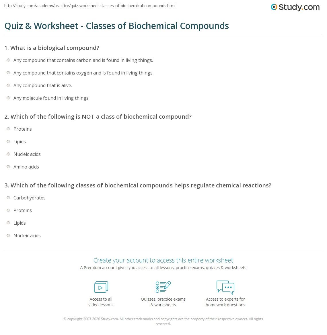 Worksheets Holt Science Spectrum Worksheets quiz worksheet classes of biochemical compounds study com print definition worksheet