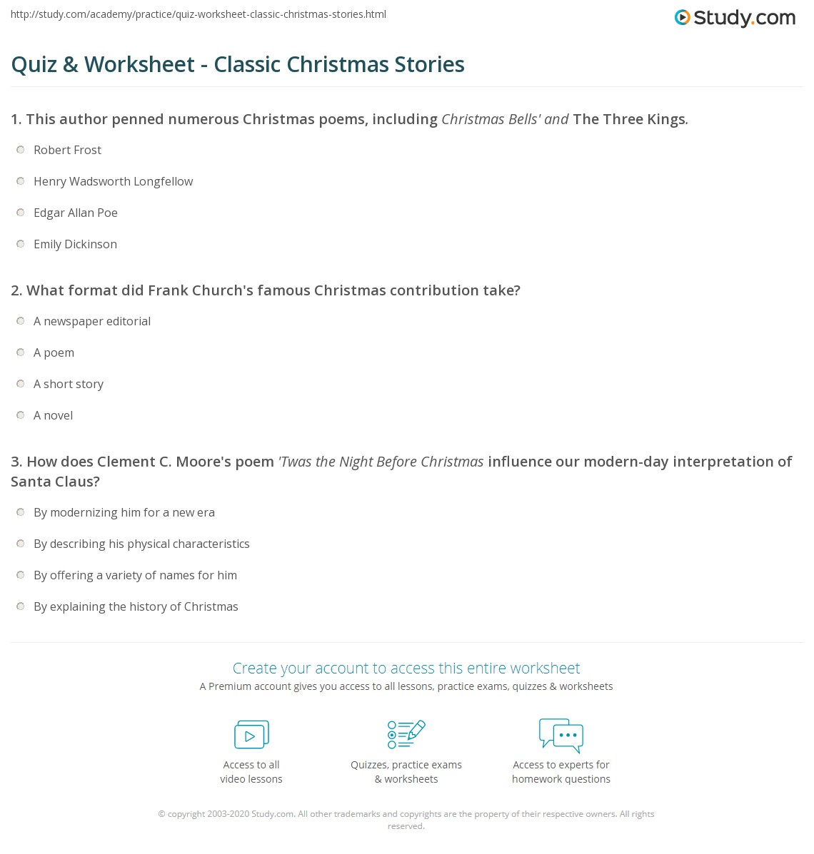 print classic famous christmas literature stories authors worksheet
