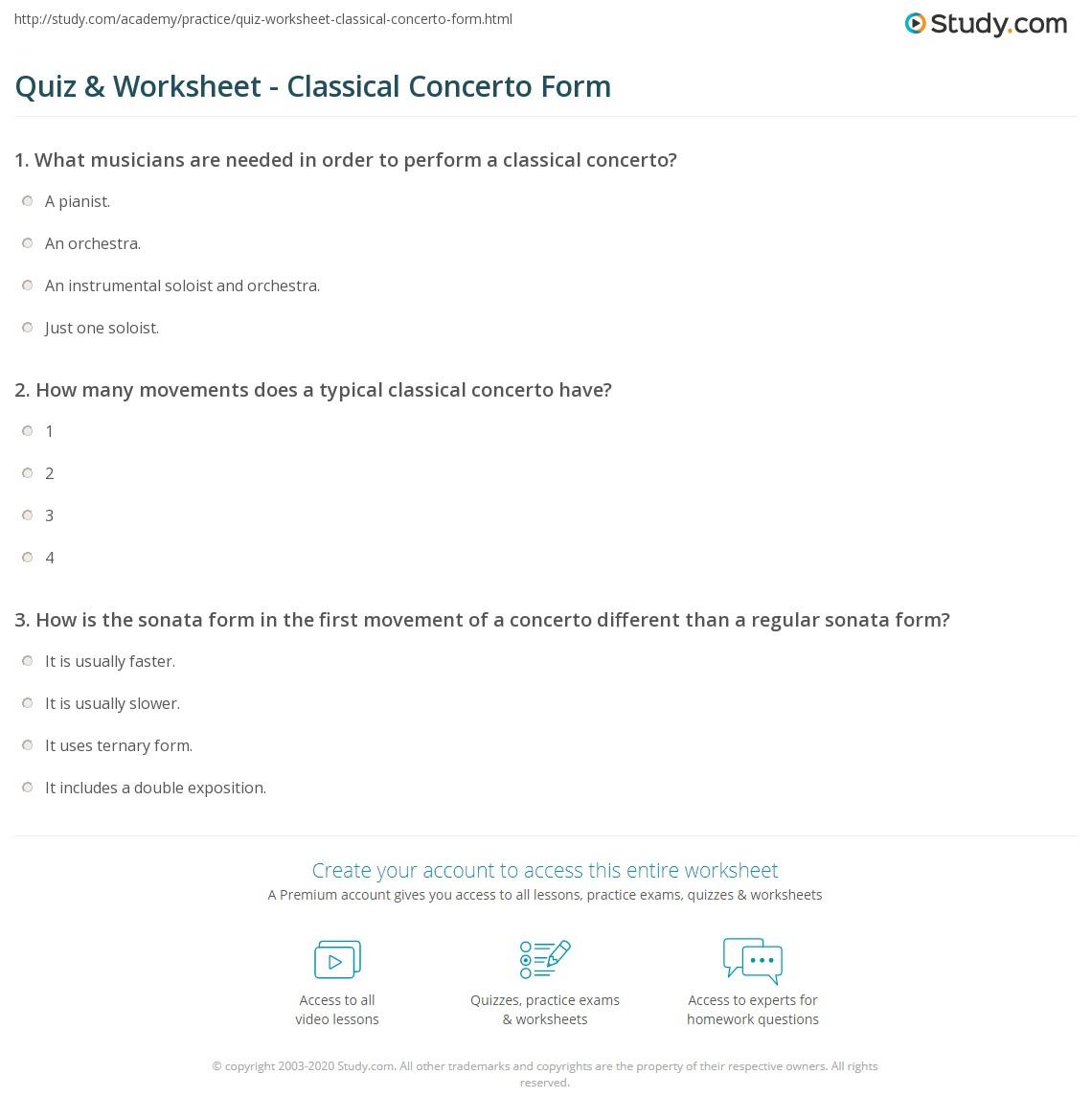 Quiz & Worksheet - Classical Concerto Form   Study.com